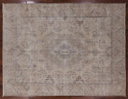 9' 6 X 12' 5 Vintage White Wash Hand Knotted Wool Rug - Q2042