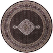 10and039 Round Wool And Silk Hand Knotted Traditional Rug - P7291