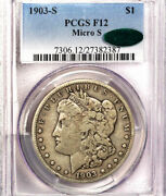 1903-s 1 Micro S F12 Pcgs/cac-only 225 In Higher -morgan Dollar