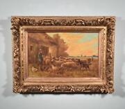 Antique Oil On Canvas Painting Of A Farmer And Sheep By Paul Schouten 1860-1922