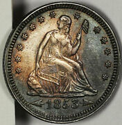 1853 25c Arrows And Rays-liberty Seated Quarter