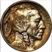 1913-s 5c Type 1 Ms65 Pcgs-rare Rainbow-only 261 In Higher Grades-buffalo Nickel
