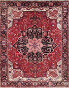 Vegetable Dye Geometric Red Heriz Serapi Oriental Hand-knotted 10and039x13and039 Wool Rug