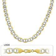 50.40gm 14k Solid Gold Two Tone Menand039s Mariner Concave Chain 24 7.50mm Necklace