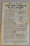 Vintage Lionel Instruction Sheet Hand Controlled 1022 Switches O27 Gauge Track