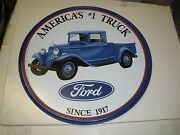 Ford America's 1 Trucks Round Metal Sign Vintage Repro Tin