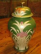 Vintage Green Vase With Lid Andrea By Sadek Flowers Graphics
