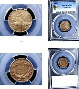1857 1c Nice Color Ms63 Pcgs-flying Eagle Cent---