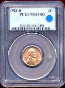 1928-d 1c Ms64rd Pcgs-lincoln Cent++