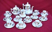 Limoges Floral Gilt French Porcelain Coffee Set 9 Place Setting 19th C