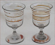 Antique French Art Glass Enameled Wine Water Footed Goblet Tulip Glass Pair 19 C