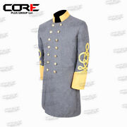 Us Civil War Confederate General's 4 Rows Braid Double Breast Cavalry Frock Coat