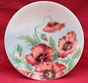 French Art Nouveau Decorative Faience Plate Red Poppy St Amand 1900