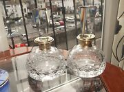Pair Vintage Cut Crystal Glass Perfume Bottles And Prism Stoppers Brass Collars
