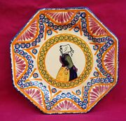 Henriot Quimper Octogonal Plate Breton Lady Corbeille French Faience 1930