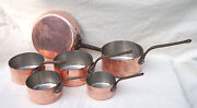 French Cookware Tin Lined Copper Set 5 Sauce Pans 1 Skillet
