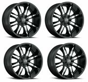Set 4 17 Vision 423 Manic Black Machined Face Rims 17x9 5x4.5 5x5 -12mm Lifted