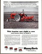 1955 Vintage Ad Massey-harris 3 Plow 33 Tractors And 377 Drill Planter
