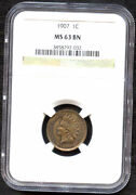 1907 1 Cent -ngc Ms 63 Bn-indian Head Cent//