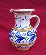 French Hand Painted Faience La Hubaudiere Quimper Pitcher 19th Century