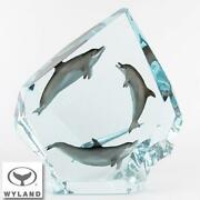 Wyland Dolphin Circle Of Lifelimited Edition Pewter And Lucite Sculpture