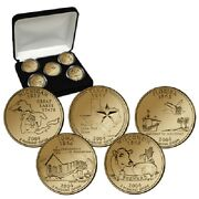 2004 24kt Gold Plated Us Mint State Quarters Set In Gift Box W/coa Gold Layered