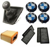 Custom Kit For Bmw Cabin Air Filter Set Wheel Center Cap W/ Emblem And Shift Knob
