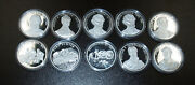 Collection Of 10 American Mint Civil War 20 Grams .999 Silver Medals