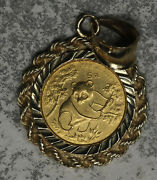 1992 China 5 Yuan Gold Coin Set In 14k Bezel Pendant - 4.1 Grams Total Weight