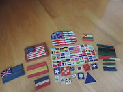 Wood Building Stick Flag Set Toy Playset Usa And Foreign Countries