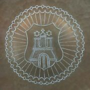 Brass Bowl, Vintage, Hammered, Engraved And Painted, Shield And Church Silhouette Vg
