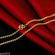 New Hot Sale Pure999 24k Yellow Gold Necklace Women Elegant O Chain16.9l 4.5-5g