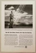1954 Print Ad Bell Telephone Solar Battery Converts Sun's Rays To Electricity