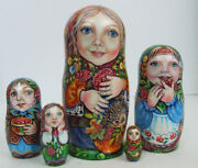 5pcs Hand Painted Only One Russian Nesting Doll Girls Enjoy Fruits Chmelyova
