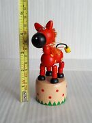 Wooden Red Ponny Horse Push Button Puppet Movable Jointed Game Push-up Toy
