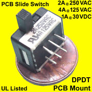 50 Miniature Dpdt Right-angle Pcb Slide-switch 4 Amps At 125 Vac Ul Approved