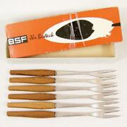 6 Rostfrei Appetizer Fork Set Teak Wood Handle 2 Prongs 8 Seafood Hors D'oeuvre