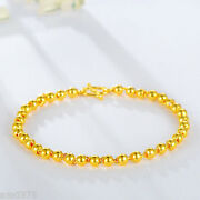 Authentic 24k Yellow Gold Bracelet Menandwomen Perfect 6.7l Smooth Beads 4mm Link