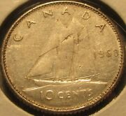 1968 Canadian Dime 10 Cent 50 Silver Coin - Canada