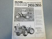Rare Oliver 2455 And 2655 4-wheel Drive Articulated Tractor Sales Sheet 1970