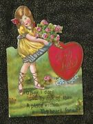 Antique Made In Germany Die Cut Valentine Sweet Girl O May I Dare Ask Of Thee