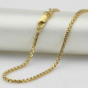 Au750 Pure 18k Yellow Gold 1.7mmw Box Cable Link Womanand039s Chain Necklace 16.9l