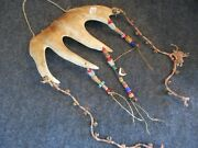 Northwest Coast Moose Antler Tool, Hand Carved And Beaded Hanging  Wy-01757