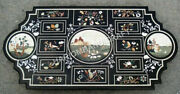 4and039x2and039 Marble Black Dining Table Top Bird Marquetry Italian Inlay Home Decor C832