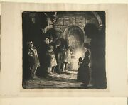 Mabel Dwight Tourists In The Crypt Original Lithograph Signed Dated 1928