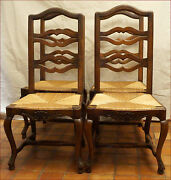 Set Of 4 Louis Xv Provincial Dining Chairs Carved Walnut Rush Seat Late 19th C