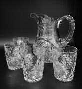 American Brilliant Cut Glass Tuthill Signed Pitcher And 4 Tumblers Water Set