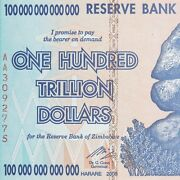 5 X 100 Trillion Dollar Zimbabwe Currency 2008 Aa About Uncirculated Au
