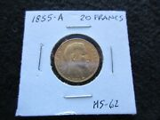 1855-a 20 Francs Gold Coin France Napoleon Iii Ungraded   Day-02767