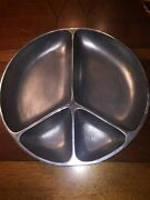 Large Peace Sign Design Serving Bowl Tray Dish Platter Pewter Metal Chip And Dip